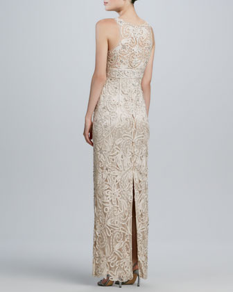 Sue Wong Passementerie Beaded V-Neck Gown