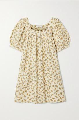DÔEN Meadow Floral-print Silk Mini Dress - Off-white