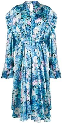 Balenciaga Floral Print Ruffle-Trimmed Dress