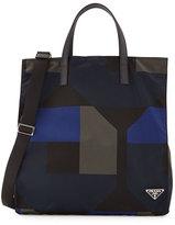 Prada Men's Printed Nylon Tote Bag, Black/Blue