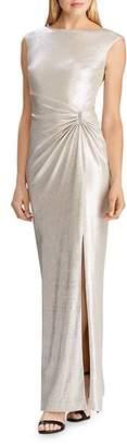 Ralph Lauren Rhinestone-Pin Metallic Gown