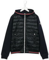 Moncler striped trim padded front jacket - kids - Cotton/Feather Down/Polyamide - 14 yrs