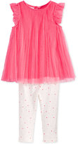 First Impressions Baby Girls' 2-Pc. Pleated Tulle Tunic & Dot-Print Leggings Set, Only at Macy's