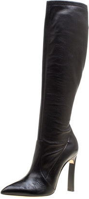 Casadei Black Leather Pointed Toe Knee Length Boots Size 40