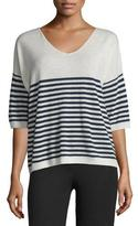 ATM Anthony Thomas Melillo Striped Cashmere V-Neck Sweater, Ecru/Midnight