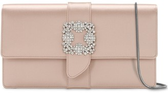 Manolo Blahnik Capri Embellished Silk Satin Clutch