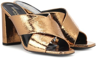 Saint Laurent Loulou 95 metallic leather sandals