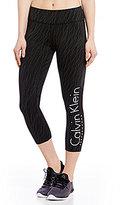 Calvin Klein Nova Glow Print Cut-Off Logo Cropped Legging