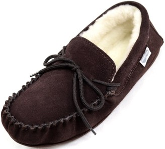 SNUGRUGS Men's Monty Wool Lined Suede Moccasin Slipper