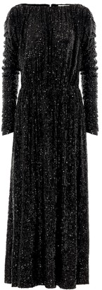Saint Laurent Sequined jersey midi dress