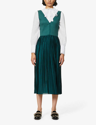 Sessun Pleated knitted and satin midi dress