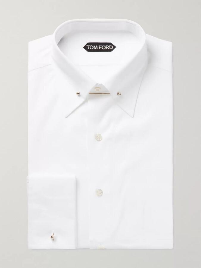 Tom Ford White Slim-Fit Pinned-Collar Double-Cuff Cotton-Poplin Shirt - Men - White