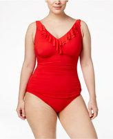 Lauren Ralph Lauren Plus Size Ruffle One-Piece Swimsuit