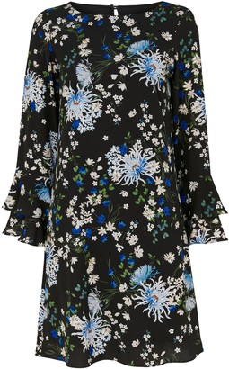 Wallis Blue Floral Print Flute Sleeve Dress