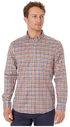 Johnston & Murphy Multi-Twill Gingham Shirt (Rust Multi) Men's Clothing