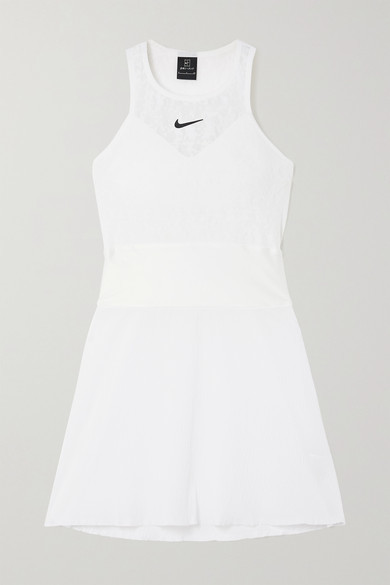 Nike Maria Cutout Satin-trimmed Stretch-lace And Seersucker Mini Tennis Dress - White
