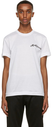 Alexander McQueen White and Black Embroidery T-Shirt
