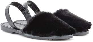 Del Rio London Classic fur and snakeskin sandals