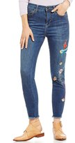 Free People Embroidered Bird Frayed Hem Jeans