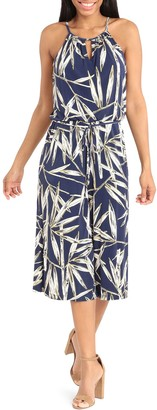 London Times Floral Jersey Cropped Jumpsuit