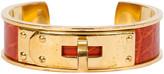 One Kings Lane Vintage Hermes Orange Crocodile Cuff - Vintage Lux - orange/gold