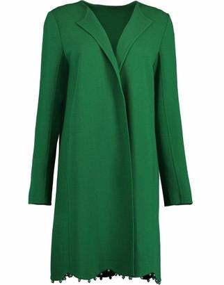 Oscar de la Renta Hunter Green Collarless Coat