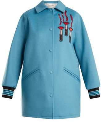 Valentino Lipstick-applique Wool-blend Jacket - Womens - Blue Multi