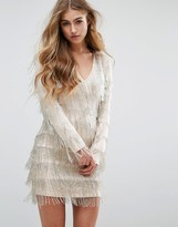 Missguided Peace + Love Embellished Fringe Mini Dress