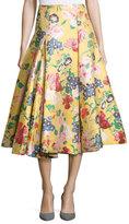 Valentino Romantic Garden Brocade A-Line Skirt, Yellow/Multi