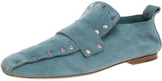 Celine Blue Suede Studded Slip On Loafers Size 39