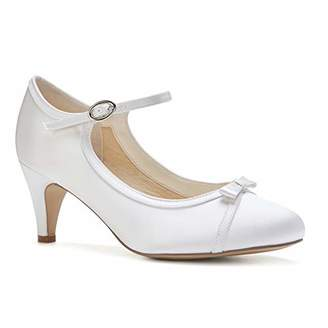 Paradox London Pink Paradox London Women's April Satin Wedding Shoes Bridal Mid Heel Court Shoes