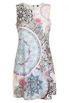 Quiz Cream And Pink Aztec Print Tunic Dress