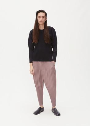 Issey Miyake Homme Plisse Men's Basics Long Sleeve T-Shirt in Black Size 2 100% Polyester