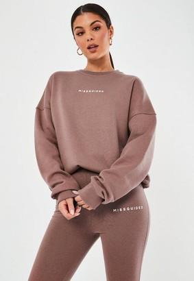 Missguided Rose Basic Graphic Oversized Sweatshirt