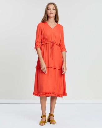 Maison Scotch Midi-Length Dress with V-Neck & Ruffles
