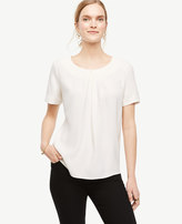 Ann Taylor Petite Pleated Mixed Media Top