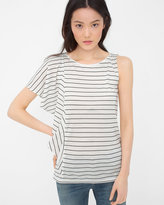 White House Black Market Stripe One-Sleeve Flounce Top