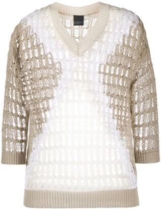 Lorena Antoniazzi Geometric-Pattern Open-Knit Jumper