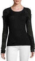 Elie Tahari Elm Floral-Applique Merino Sweater, Black