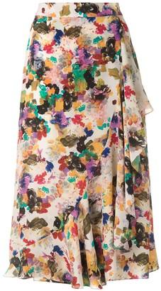 Andrea Marques Printed Ruffle Midi Skirt