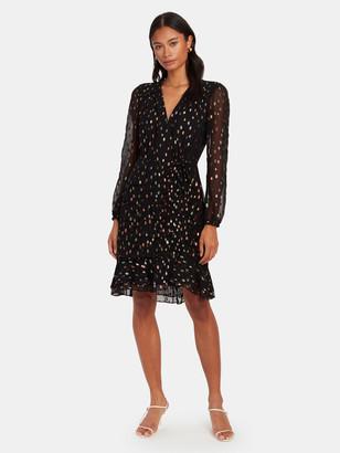 Diane von Furstenberg Bea Metallic Ruched Flounce Mini Dress