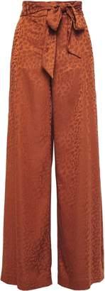 Just Cavalli Tie-front Satin-jacquard Wide-leg Pants