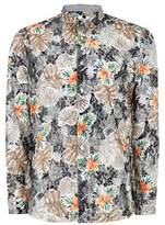 Topman Mens Black Floral Lace Long Sleeve Shirt