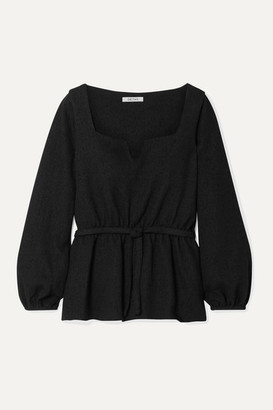 Deitas Liz Belted Tweed Blouse - Black