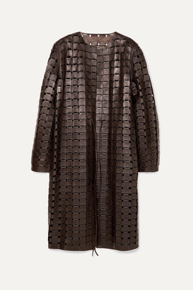 Bottega Veneta Leather Coat - Brown