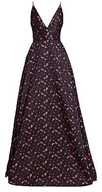 ML Monique Lhuillier Women's Plunging Floral Ball Gown - Size 0