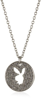 Playboy Platinum Plated Diamante Circular Pendant