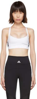 adidas White All Me 3-Stripes Sports Bra