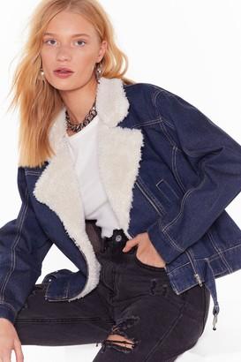 Nasty Gal Womens All the Feels Faux Shearling Denim Jacket - blue - 6