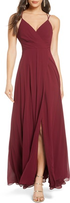 Sequin Hearts Faux Wrap Sleeveless Chiffon Gown